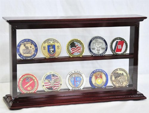 2 Shelves Military Challenge Coin Curio Stand Rack w/UV Protection Viewing from Both Side, Cherry