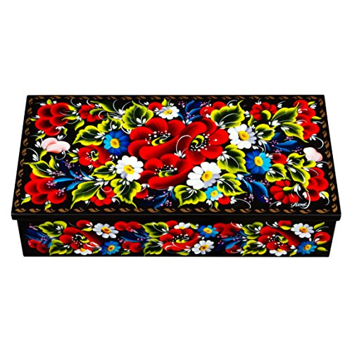 - UA Creations Petrykiv Ethnic Rectangular Lacquered Wooden Jewelry Box with Lid, Hand Painted Flowers on Black, Beautiful Floral Design Gift for Girls and Women (red and Blue)