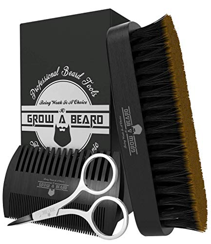 Beard Comb & Brush Set for Men's Care | Gentleman's Giveaway Mustache Scissors | Best Bamboo Grooming Kit to Spread Balm or Oil for Growth, Styling, Softness | Presented in Premium Gift Box