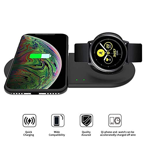 VICARA Compatible with Galaxy Watch Active 2 in 1 Wireless Charger Duo, Fast Wireless Charger Stand Holder for Uiversally Qi Enabled Smart Phone, Samsung Galaxy Watch Active/42mm/46mm Gear S3/S2/Sport