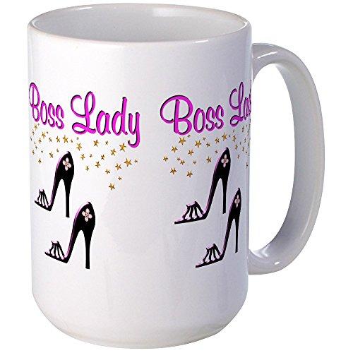 CafePress - #1 BOSS LADY Large Mug - Coffee Mug, Large 15 oz. White Coffee Cup (Female Mob Boss)