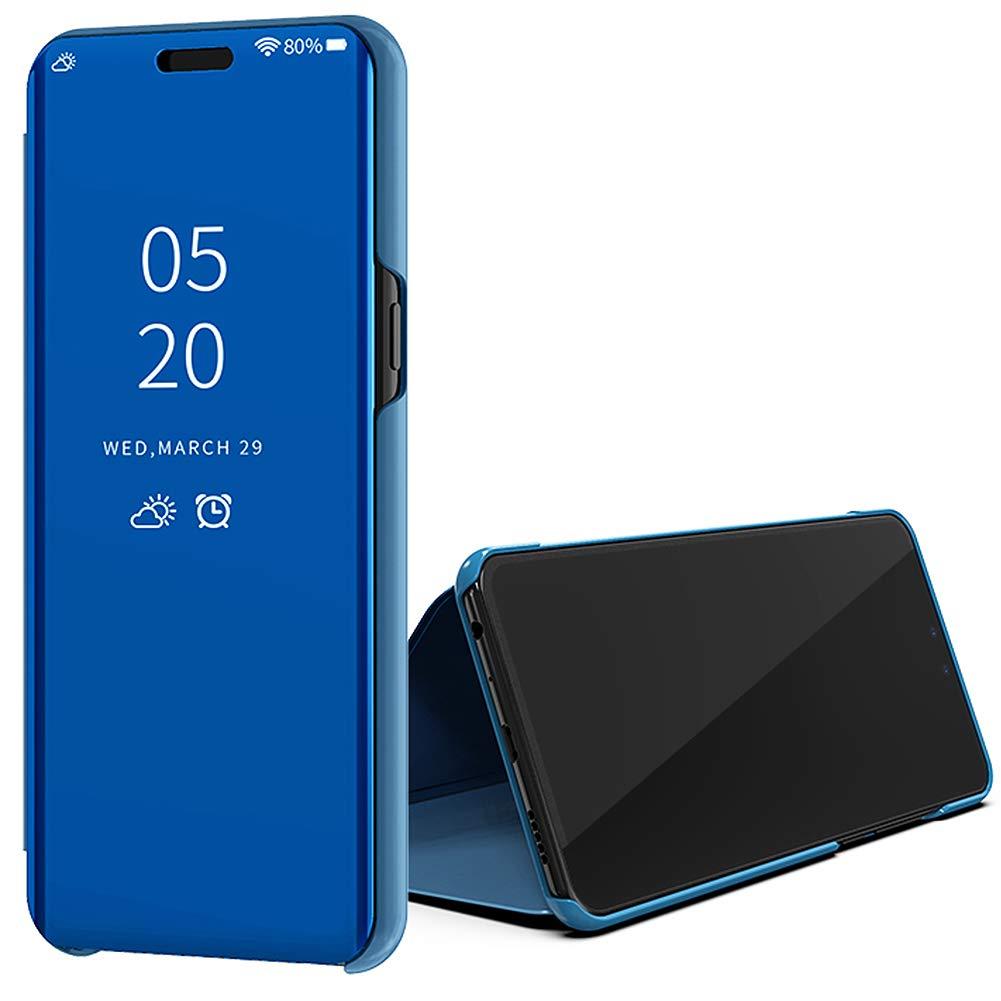 Violett blau Huphant Kompatibel Mit OnePlus 6T H/ülle Schwarz Clear View Mirror Replacement for Case Spiegel Handyh/ülle OnePlus 6T Schutzh/ülle Leder Flip Standfunction Semi-transparent