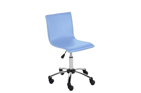 Miliboo - Silla de escritorio con ruedas para niño PVC azul BAXY