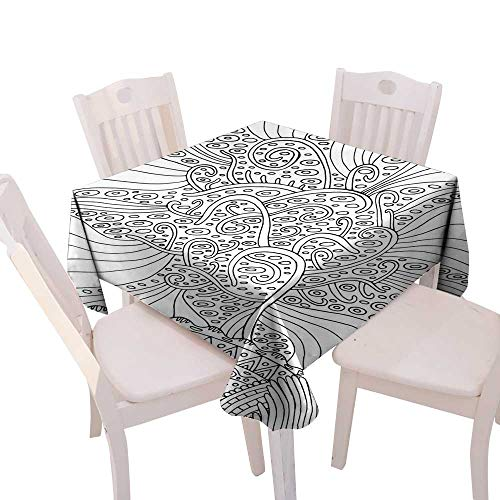longbuyer Wrinkle Free Tablecloths Rainbow Tree of Life Surreal Fantasy psuchedelic Coloring Page for Adults Vector Illustration Square Tablecloth W 70