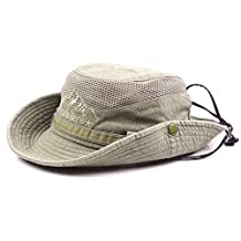 King Star Men Summer Cotton Cowboy Sun Hat Wide Brim Bucket Fishing Hats