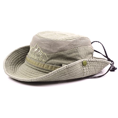Cowboy Protection Sun (King Star Men Summer Cotton Cowboy Sun Hat Wide Brim Bucket Fishing Hats Khaki)