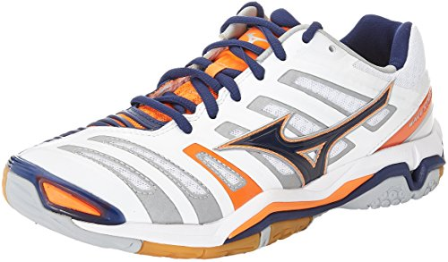 Mizuno Men Wave Stealth American Handball Shoes Multicolor (White/Blue Depths/Orange Clown Fish)