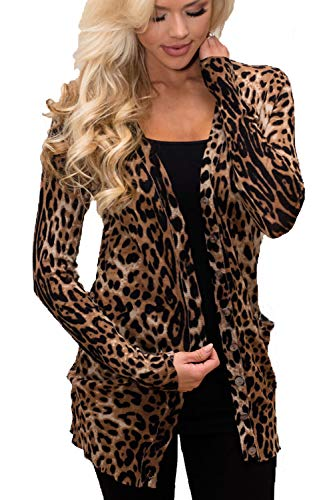 (MYIFU Women Leopard Prints Cardigan Long Sleeves Open Front with Button)