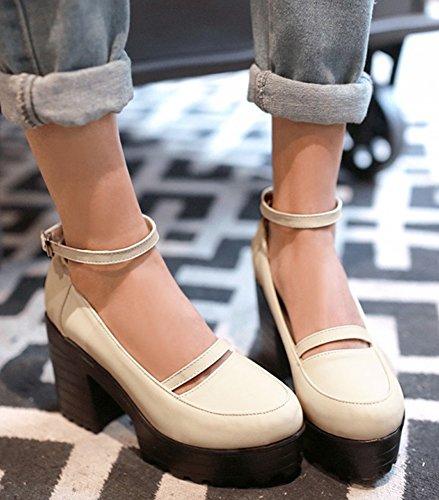 IDIFU Womens Sweet High Heels Chunky Platform Sneakers Ankle Strap Pumps Shoes Beige TSYq0wyt
