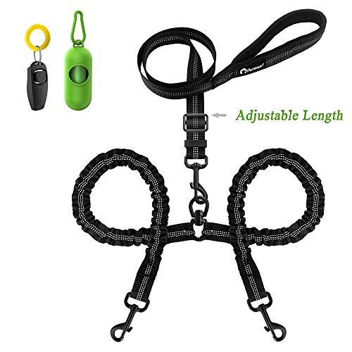 Peteast Professional Double Dog Leash Kit, Adjustable Heavy Duty Dual Dog Leash, 360° Swivel No Tangle & Soft Handle, Walking & Training Leash Two Dogs