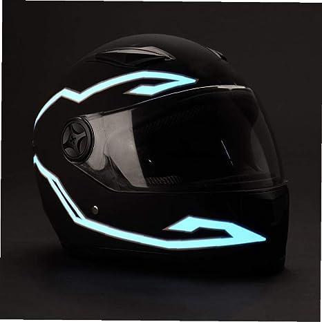 Laancoo Motorradhelm Licht Wasserdicht Helm Für Radfahrer Led Aufkleber Licht Blinkt Streifen Aufkleber Kit Motorrad Lichtstreifenstreifenreitsignallicht Eisblau Küche Haushalt