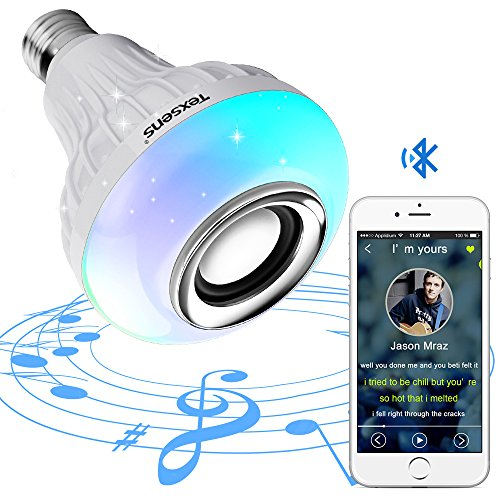 Texsens Smart Light Bulb Speaker Generation II with Updated Remote Control - New Function of Light Flashing as Music Goes Plays Music Lights