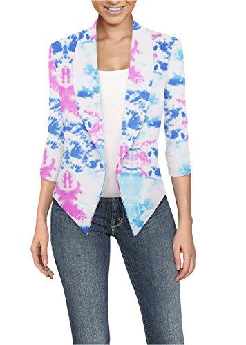 Womens Casual Work Office Open Front Blazer JK1133X 10604 Blue/Pink 1X