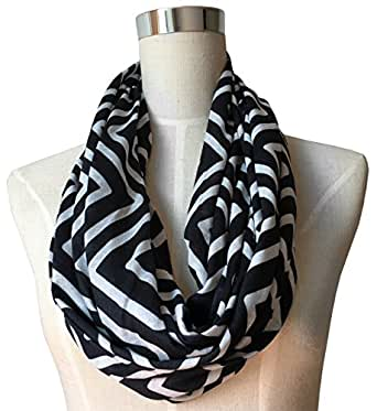 12-Days-of-Deals, Gift Ideas, Womens Black Infinity Scarf, Geometric Pattern Scarf, Zipper Scarf, Fashion Scarf, Infinity Scarves