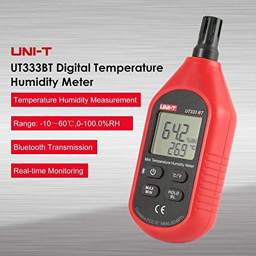 UT333BT Bluetooth Mini LCD Digital Air Temperature Humidity Meter Thermometer Hygrometer Gauge Tester UT333 Upgrade ()