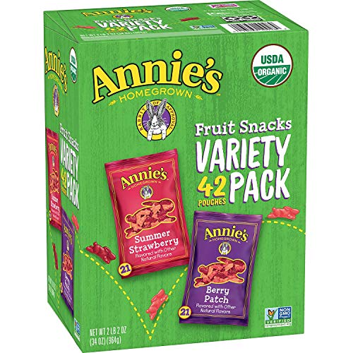 Annie's Homegrown Organic Vegan Fruit Snacks Variety Pack, 42 Count, 2LBS 2OZ (946G) -