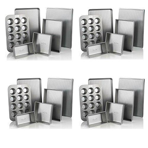 USA Pan Bakeware Aluminized Steel 6 Pieces Set, Cookie Sheet, Half Sheet, Loaf Pan, Rectangular Pan, Square Cake Pan, 12 Cup Muffin Pan (4 Pack - 6 Piece Set)