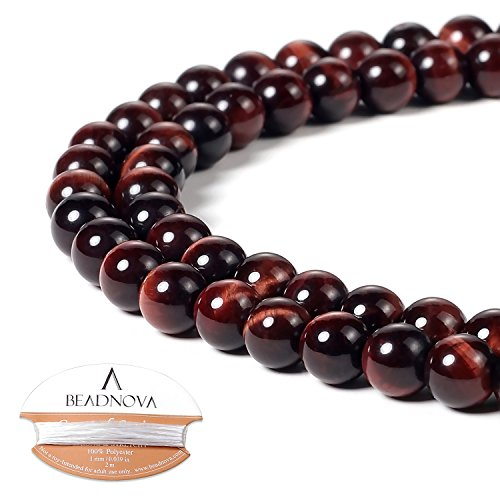 BEADNOVA 6mm Red Tiger Eye Gemstone Round Loose Beads for Jewelry Making (63-65pcs)