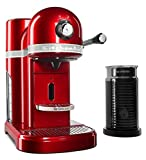 KitchenAid KES0504CA Candy Apple Red Aeroccino Milk Frother Nespresso Espresso Maker, 1.3 L,