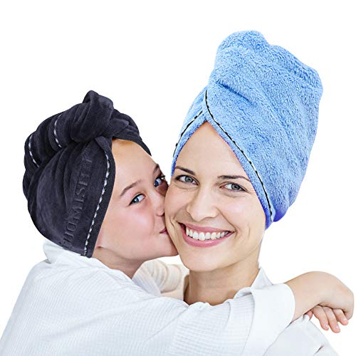 2 Pack Bigger Plus Size Hair Towel Wrap Turban Microfiber Drying Bath Shower Head Towel with Buttons, Quick Magic Dryer, Dry Hair Hat, Wrapped Bath Cap By Duomishu (Blue & Grey)