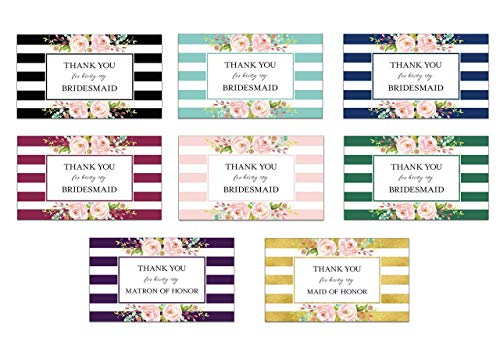 Thank You For Being My Bridesmaid Mini Champagne Labels ● SET of 8 ● Thank Maid of Honor, Matron of Honor Gifts, Bridal Party Favors, Gifts, Bridesmaid THANK YOUs in 8 DIFFERENT Colors! M452-THANK-8