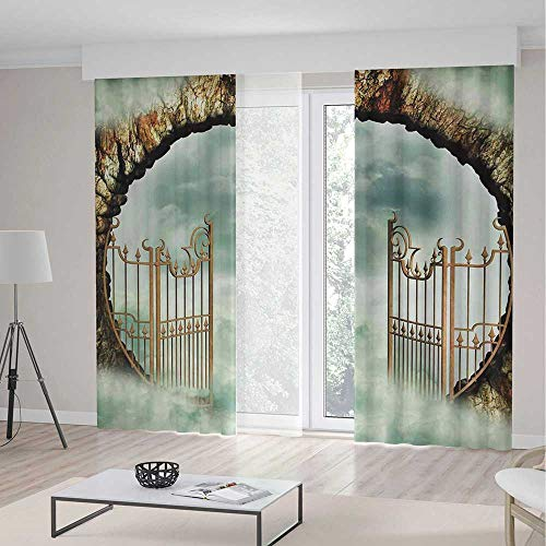 iPrint Mystic Blackout Curtains,Vintage Door Gate in the Sky Clouds Dreamy Castle Fairytale Illustration Decorative,Living Room Bedroom Window Drapes 2 Panel Set,157 W 84 L,Teal Beige (Brown Toile Window Panels)