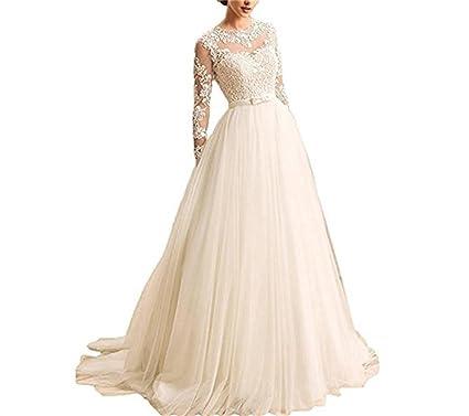 Cloverbridal Damen Hochzeitskleider A Linie Lange Armel Spitze Von