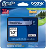"Brother P-touch ~1/2"" (0.47"") Black on Clear Standard Laminated Tape - 26.2 ft. (8m)"