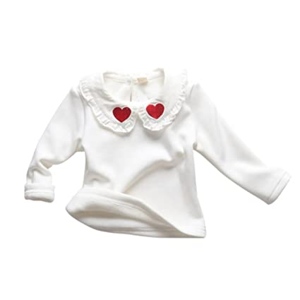 Baby Girl Camiseta de manga larga Ropa interior blanca Blusa Doll Collar Love Hearted Cute Top
