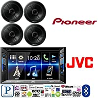 JVC KW-V130BT Double DIN Bluetooth In-Dash DVD/CD/AM/FM Car Stereo w/ 6.2 Clear Resistive Touchscreen W/ Pioneer TS-G1645R 250W 6-1/2 2-Way Coaxial Car Speakers
