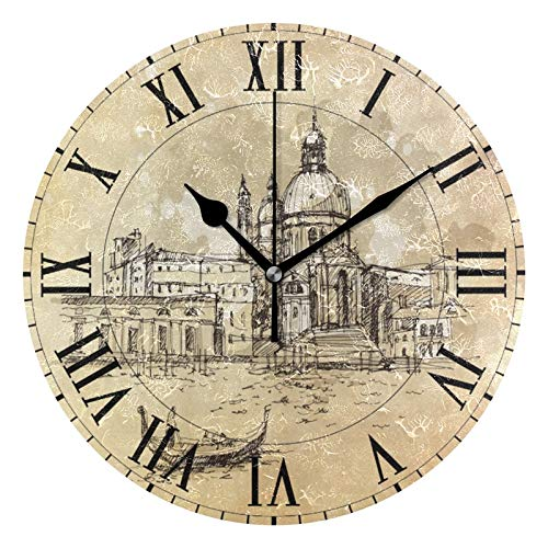 ALAZA Vintage Italian Venice Round Acrylic Wall Clock, Silent Non Ticking Oil Painting Home Office School Decorative Clock Art