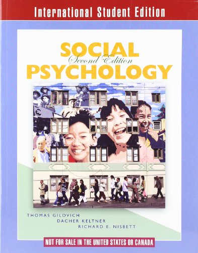 Interntaional Student Edition Social Psychology