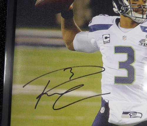 Russell Wilson Autographed Signed Framed 24x30 Canvas Photo Sb Champs Rw 107486 Autographed NFL Art
