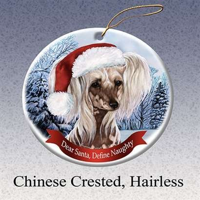 Hairless Chinese Crested - Holiday Pet Gifts Chinese Crested, Hairless Santa Hat Dog Porcelain Ornament