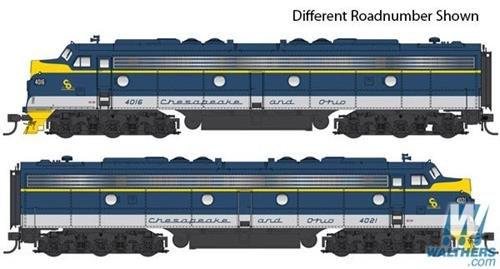 EMD E8A-A Set – LokSound Select DCC & Sound — Chesapeake & Ohio #4018, 4027 (blue, gray, yellow)