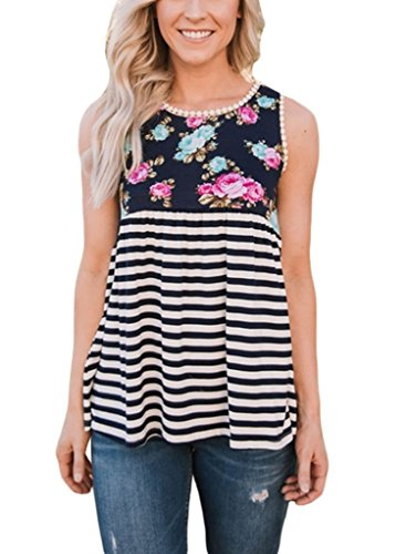 Sidefeel Women Strips Babydoll Floral Print Sleeveless Tank Top With Lace Trim X-Large Black