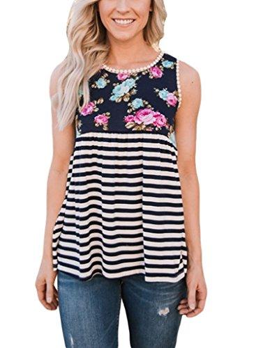 Sidefeel Women Strips Babydoll Floral Print Sleeveless Tank Top With Lace Trim Medium (Strip Tank)