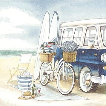 20 servilletas de viaje para surf, playa, bicicleta, verano, vacaciones, 33 x 33 cm: Amazon.es: Salud y cuidado personal