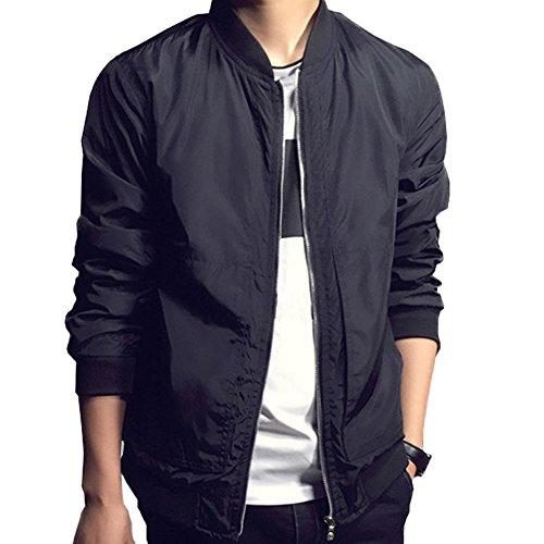 Men Fashion Classic Collarless Bomber Jacket Slim Bike Motorcycle Coat Outwear (US Size M(Asian Size 3XL)), black) (Season Bomber Jacket)
