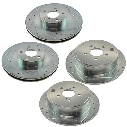 - Front & Rear Performance Drilled Slotted Brake Rotor Kit for Subaru