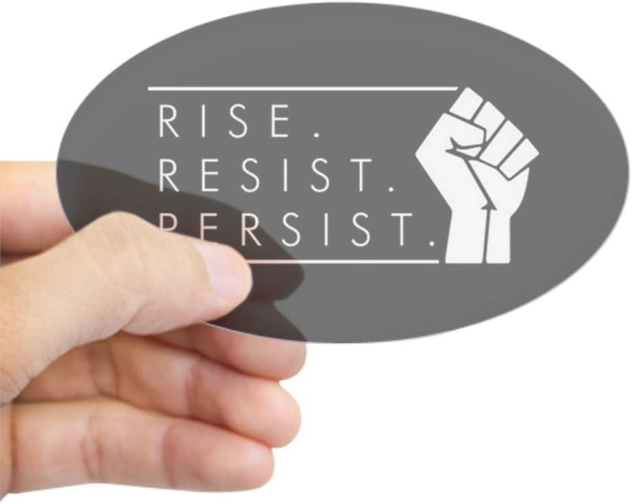 CafePress Rise. Resist. Persist. Oval Bumper Sticker, Euro Oval Car Decal