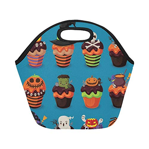 Insulated Neoprene Lunch Bag Vintage Halloween Poster Design Cupcake Set Large Size Reusable Thermal Thick Lunch Tote Bags For Lunch Boxes For Outdoors,work, Office, School