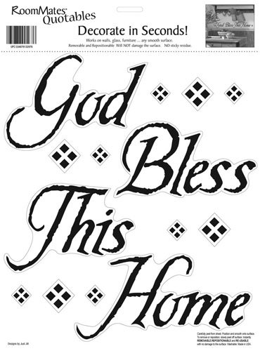 RoomMates God Bless This Home Peel and Stick Quote Wall Decal Sheet
