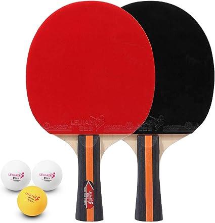 Walmeck- Tenis de Mesa Juego de 2 Jugadores 2 Raquetas de Palos de Tenis de Mesa y 3 Pelotas de Ping Pong con Funda: Amazon.es: Deportes y aire libre