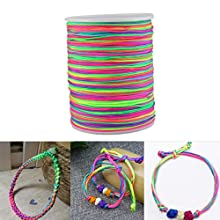 Faxco 180m(600ft) Rainbow Color Elastic Cord Beading Thread Stretch String Craft Cord, String Fabric Crafting Cords for DIY Jewelry Making(1mm)