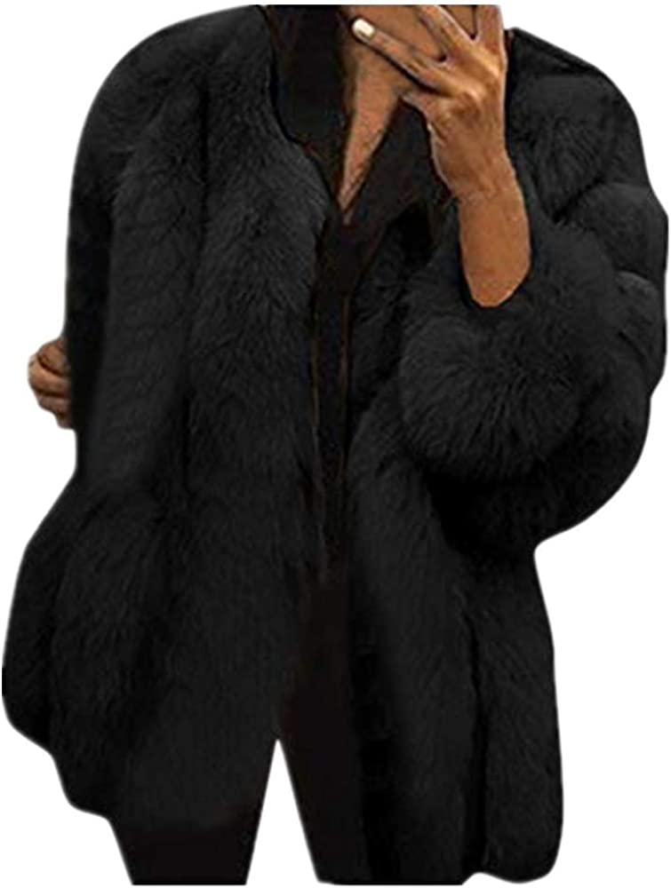 Cardigo Plus Size Womens Short Faux Coat Warm Furry Jacket Long Sleeve Outerwear