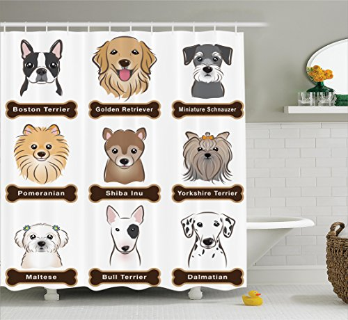 - Ambesonne Dog Lover Decor Shower Curtain Set, Various Type of Dogs Nameplate Boston Terrier Domestic Animal Faithful Loyal, Bathroom Accessories, 84 Inches Extralong, Grey Cream White