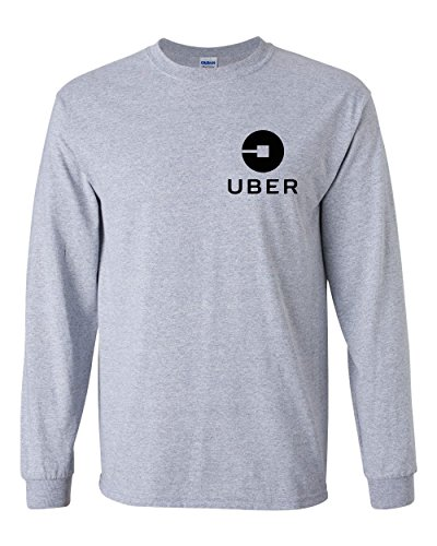 Uber Driver New Logo Men's Gildan Heavy Cotton Long Sleeve T Shirt Tee New   Sport Grey W/ Black