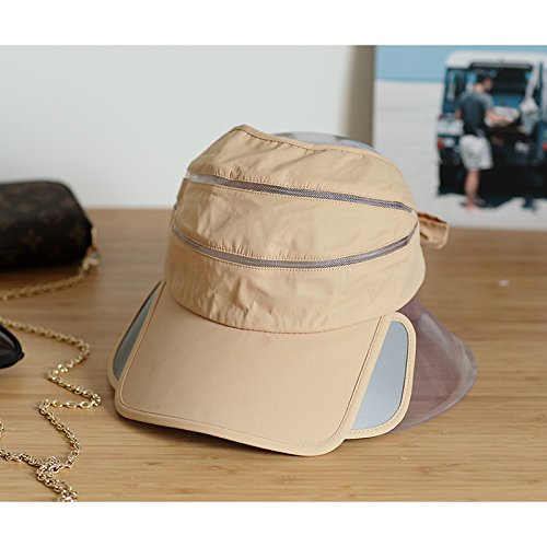 (LIZHONG-SLT Empty hat female summer sun hat telescopic peaked cap free ride baseball cap covered his face,Size (56-58cm),Plug half empty top -)