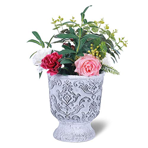 (West Beauty Distressed Cement Garden Planter Pot, Antique Trophy Shape Plant Container, Decorative Flower and Succulent Vase for Indoor and Outdoor, Grey (Trophy))